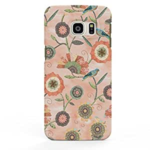 Koveru Designer Printed Protective Snap-On Durable Plastic Back Shell Case Cover for Samsung Galaxy S6 Edge Plus - Flower Scroll Coral