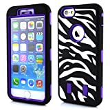Meaci® Cellphone Case for Iphone 6 Plus 5.5 Inch Case 3 in 1 Combo Hybrid High Impact Body Armorbox Hard Pc&silicone Protective Bumper Case with Zebra Luxury Print (purple zebra)