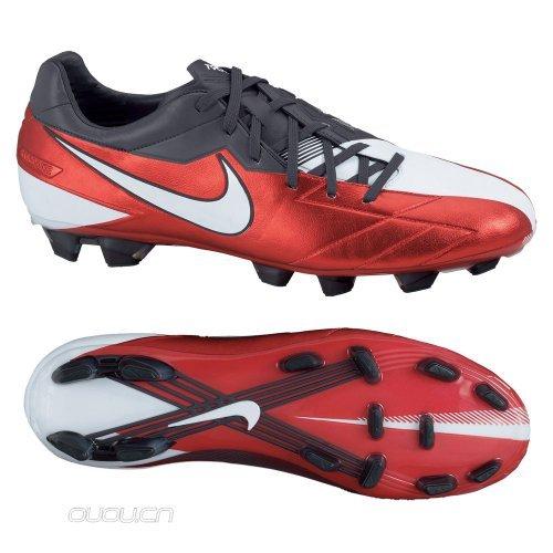 Nike Fußballschuhe T90 Laser IV Kanga-Lite FG Leicht Rot & Weiß Fußballschuhe - Rot, 39,5