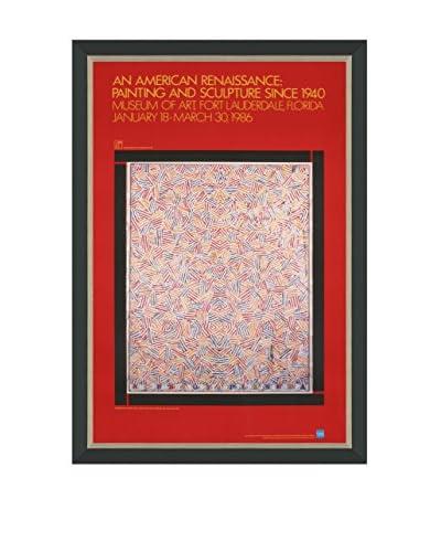 """Jasper Johns """"Dancers On A Plane"""" (Printed In 1986) Framed Poster"""
