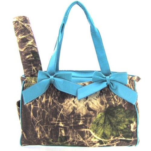 Blue Camo Camouflage Tote Purse Diaper Bag with Soft Velvety Feel - 1