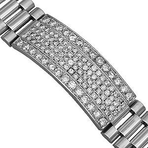 14K White Gold Mens Diamond ID Bracelet 10.45 Ctw