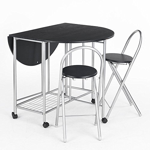 Kitchen Table With Chairs On Wheels: Homycasa Folding 5-Piece Steel Frame Dining Room Table And