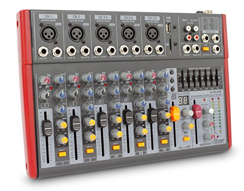 NOVIK NEO MIXER NVK 802FX 8 Channel Ultra-Slim 5 channels with pre-amplifiers of Mic and Phantom Power (+48v) 3 channels Stereo (Mic Mixer Amplifier compare prices)