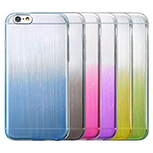 Eversame Bundle of 6 [Gradient Laser] Flexible Anti-scratch Translucent Clear TPU Gel Skin Soft Protective Case with Anti Dust Plugs For iPhone 6/6s 4.7 Inch(Green Purple Black Yellow Hot Pink Blue)