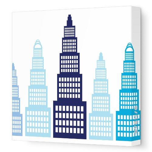 "Avalisa Stretched Canvas Nursery Wall Art, Skyscraper, Blue, 18"" x 18"""
