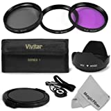 52MM Professional Lens Accessory Kit for NIKON DSLR (D5100 D5000 D3100 D3000 D40 D60 D80 D3200) - Includes: Vivitar Filter Kit (UV, Polarizing, Fluorescent) + Carry Pouch + Tulip Lens Hood + Snap-On Lens Cap + Cap Keeper Leash + MagicFiber Microfiber Lens Cleaning Cloth