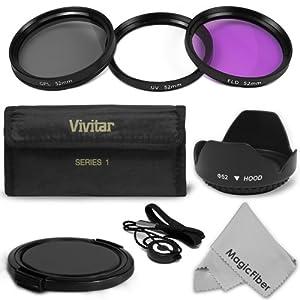 52MM Professional Lens Accessory Kit for NIKON DSLR (D5100 D5000 D3100 D3000 D40 D60 D80 D3200) - Includes: Vivitar Filter Kit (UV, Polarizing, Fluorescent) + Carry Pouch + Tulip Lens Hood + Snap-On Lens Cap + Cap Keeper Leash + MagicFiber Microfiber Lens Cleaning Cloth