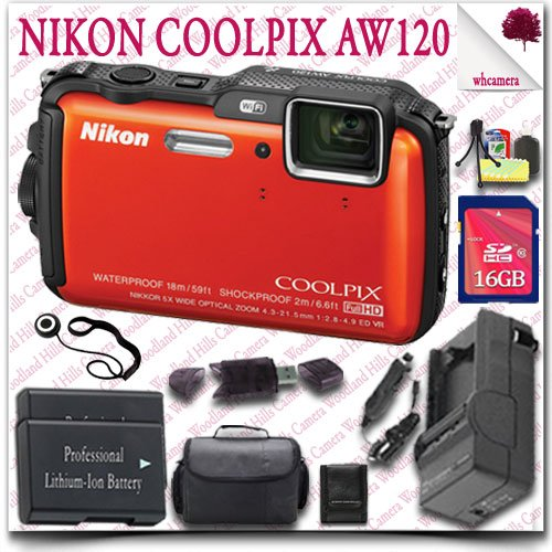 Nikon Coolpix Aw120 Wifi Waterproof Gps Digital Camera (Orange) + 16Gb Sdhc Class 10 Card + Slr Gadget Bag 12Pc Nikon Saver Bundle