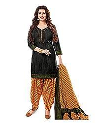Nikki Fab Black Cotton Unstitched Dress Materials