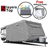 "RVMasking Heavy Duty 5 Layers Travel Trailer RV Cover, Fits 31'7"" - 34' RVs - Breathable Waterproof Anti-UV Ripstop Camper Cover With 15 PCS Windproof Buckles & Adhesive Repair Patch (25.4""&59"")"