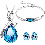 Cyan Bow Style Crystal Jewellery Set With Earring Alloy Jewel Set Blue.