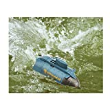 Camecho® 6CH Super Mini RC Submarine with Two Headlight High Speed Remote Control Boat Two Propellers (Blue)