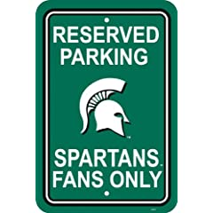 Buy NCAA Michigan State Spartans 12-by-18 inch Plastic Parking Sign by BSI