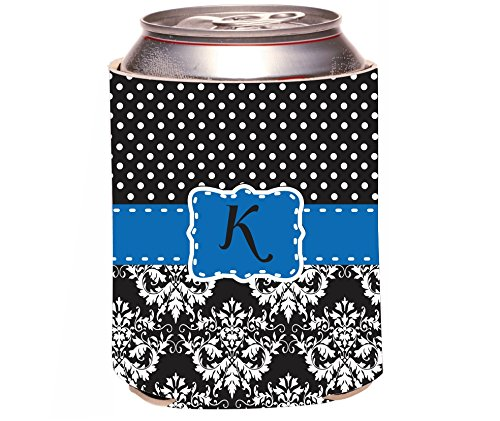 "Rikki Knighttm Rikki Knight Initial ""K"" Lime Green Black Damask Dots Monogrammed Design Drinks Cooler Neoprene Koozie front-632446"