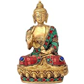 BRK Handicraft Blessing Lord Buddha Statue Of Brass Turquoise Stones Buddhism Idol - Home Decor Showpiece Figurine