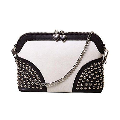 Kingko® Donne della ragazza della spalla di modo Tote Bag Messenger Bag Rivet Crossbody borsa (Bianco)