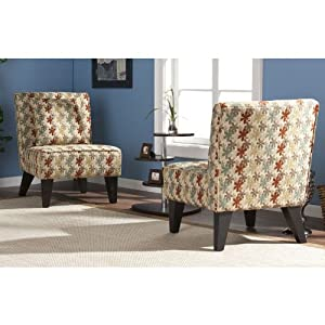 "Set of 2 Clover Aegean Chappell Hill Chairs with Pillows (Multi-Colors) (32""H x 25.75""W x 31""D)"