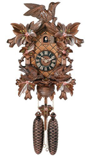 River City Clocks Eight Day Cuckoo Clock with Hand-painted Flowers, Leaves, and Animated Birds Feeding Baby Birds - 16 Inches Tall - Model # 815-16P
