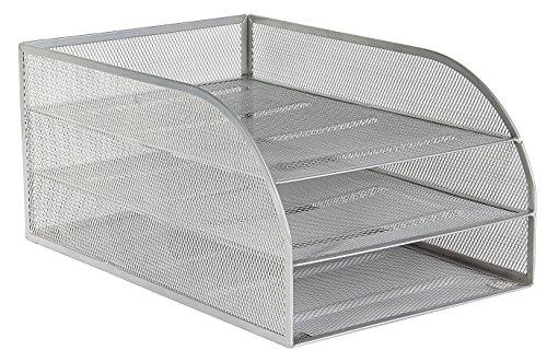 OSCO-Schreibtischablage-Gitter-3-Fcher-montiert-silberfarben