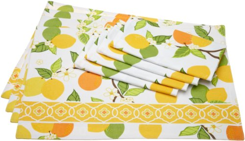 Design Imports DII Citrus Blossom Placemats and Napkin Kitchen Linen Set in Citrus Print