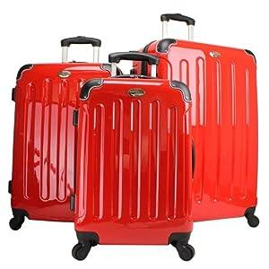 Swiss Valises Rigides à Roulettes en ABS/Polycarbonate (3 Pcs) Rouge