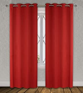 LJ Home Fashions Luxura energy saving, room darkening window panels in red (set of 2)