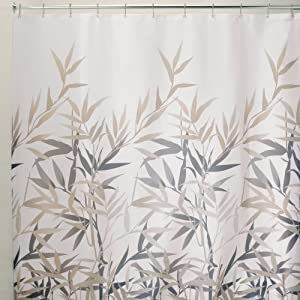 Interdesign Anzu Fabric Shower Curtain Black And Tan 72 X 72 Inch Purple Shower