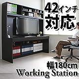 【限定10台大セール】送料無料 パソコンデスク システムデスク オフィスデスク WORKING STATION 書斎 180cm幅 大型デスク CPB043DBR