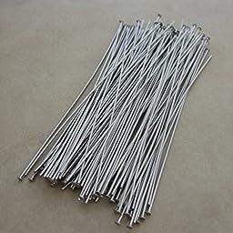 100 Stainless Steel Headpins 3 Inch 21 Gauge