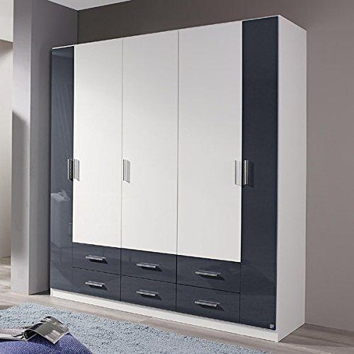 Kleiderschrank hochglanz weiß / grau Hochglanz B 181 cm Schrank Drehtürenschrank Wäscheschrank Spiegelschrank Kinderzimmer Jugendzimmer jetzt bestellen
