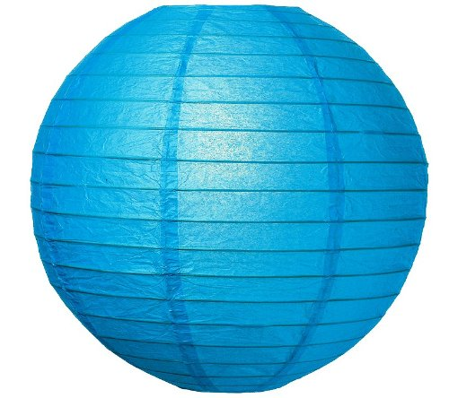 "WeGlow International 6"" Deluxe Paper Lantern - Blue (3 Pieces) - 1"
