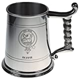 Duff Crest Tankard with Rope Handle in Polished Pewter 1 Pint Capacity