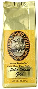 Aloha Island Coffee GOLD Organic 100% Pure Kona Coffee, 8 Oz Whole Bean, 8-ounces