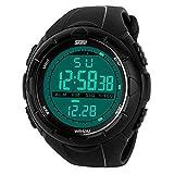 OGYA Men's Multifunctional Military Waterproof Big Case Rubber Band Digital LED Sport Watch – Black