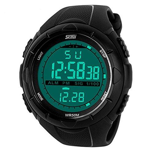 OGYA Men's Multifunctional Military Waterproof Big Case Rubber Band Digital LED Sport Wrist Watch – Black
