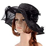 Vbiger Summer Flat Large Wide Brim Gauze Kentucky Derby Sun Hat