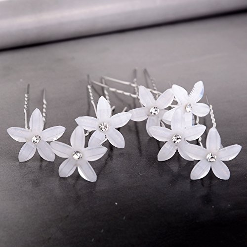 Yantu Womens Flower Bridal Wedding Hair Pin with Crystal (Pack of 20) (Sharp five leaves)