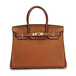Fineplus Fashion Women\'s Genuine Leather BK Style Lady Coveted Lady Handbags Brown