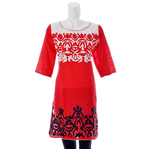 Red Cotton Linen Red Kurti (Multicolor)
