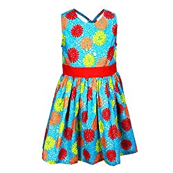 ShopperTree Blue And Red Cambric Print Dress(ST-1420_Multi-Coloured_3-4Y)