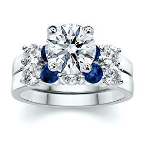 3.50 ct Round Diamond W Round Blue Sapphire Ring Set