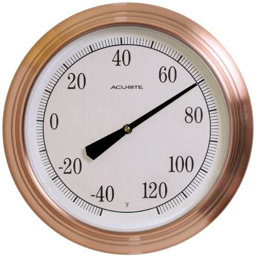 Chaney Instruments Acu-Rite 01070 14-inch Wall Thermometer, Copper Finish