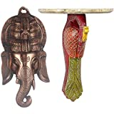 APKAMART Handcrafted Set Of Lord Ganesh Face Wall Hanging 16 Inch And Multicolor Wall Bracket 12 Inch - Wall D'cor...