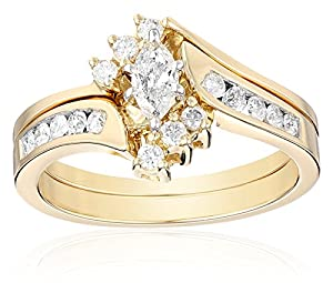 14k Yellow Gold Marquise and Round Diamond Bypass with Interlocking Band Bridal Set (0.50 cttw I-J Color, I2 Clarity), Size 6