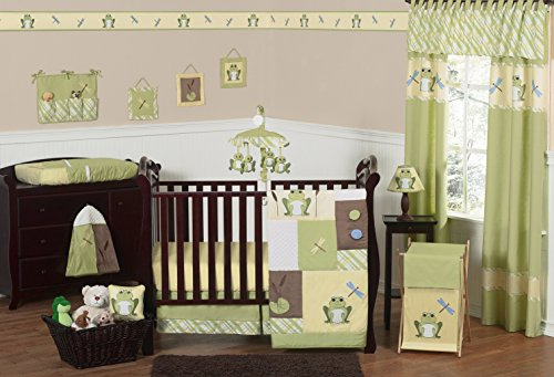 Sweet Jojo Designs Yellow and Green Leap Frog Baby Boy Girl unisex Bedding 11pc Crib Set without bumper