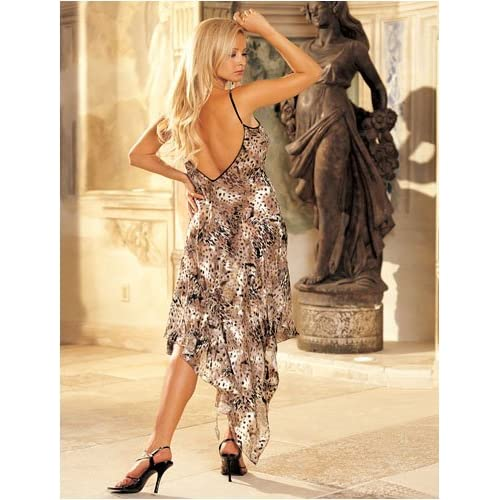 Sexy Dress: Sexy Teens in Animal Print Burnout Silk Long Gown, Whimsical and Bold