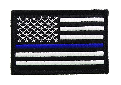 Purchase USA American Thin Blue Line Police Flag Tactical Velcro Fully Embroidered Morale Tags Patch