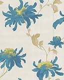 Graham & Brown 31-159 - Carta da parati di lusso, vinilica, motivo floreale, brillante, rotolo da 10 m, perla/foglia di tè