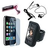 New Sport Armband Case Cover + Fosmon's Metal Stylus + Black Headphone with Microphone + Transparent Clear High Quality Screen Protector for Apple iPhone 3G / 3GS